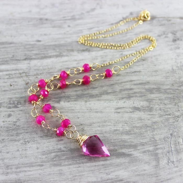 Craze Hot Pink or Fil Rempli Enveloppé Collier - Longueur 16