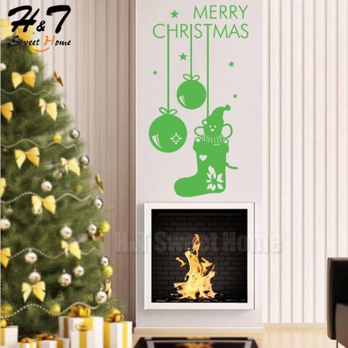 Vert Joyeux Noel De Chaussettes Mural Vinyle Autocollant De Papier