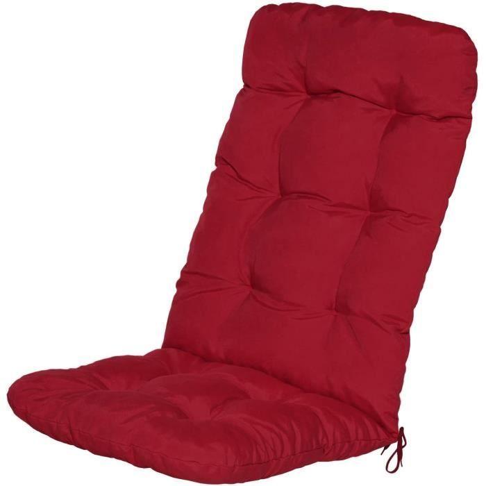 Beautissu Coussin Flair HL 120x50x8cm Rouge pour chaise fauteuil