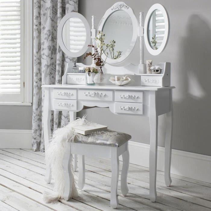 coiffeuse avec miroir blanche achat vente pas cher. Black Bedroom Furniture Sets. Home Design Ideas