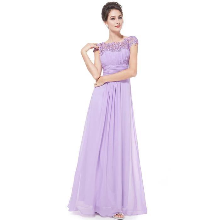 Robe violet clair de soirée longue bleu marine dentelle plissée ...