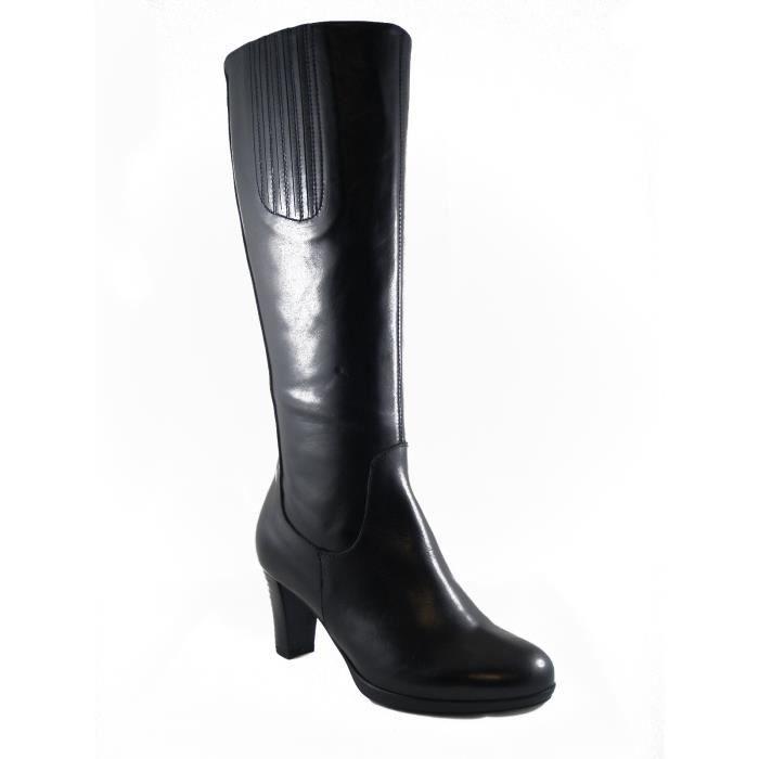 Soffice Sogno-Femme chaussure en cuir noir, talon de 7 cm. et semelle en caoutchouc, fermeture éclair zip-2668