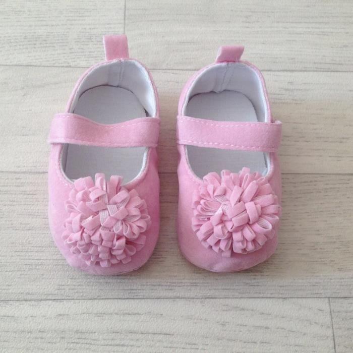 Ballerine souple bébé 3 à 15 mois, modèle Pompon rose tendre