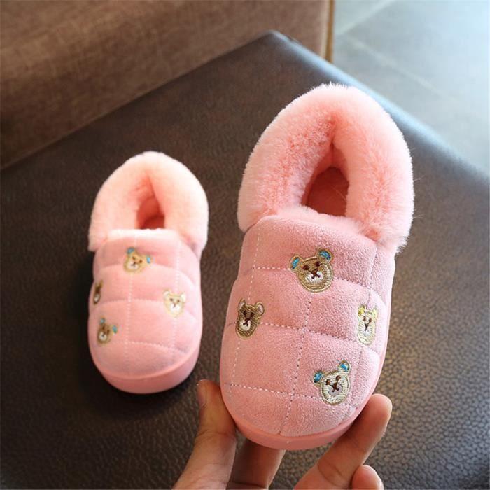 Enfant Chausson Peluche courte Chaussure Marque De Luxe Qualité SupéRieure Pantoufles Chaud Hiver Chaussure Enfants Plus De