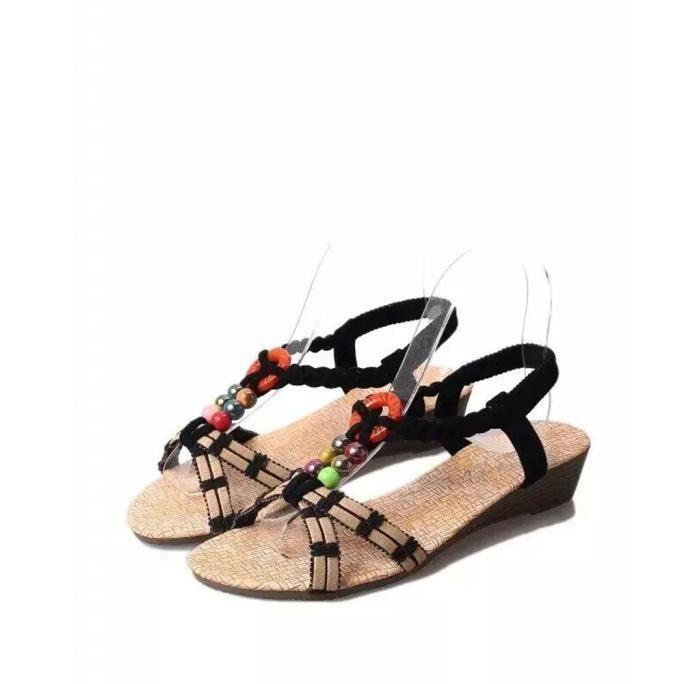 Bohême Sandales Tongs Pantoufles Été Chaussures Plates Femmes Nouveau Plage noir RZn1EqaBqw