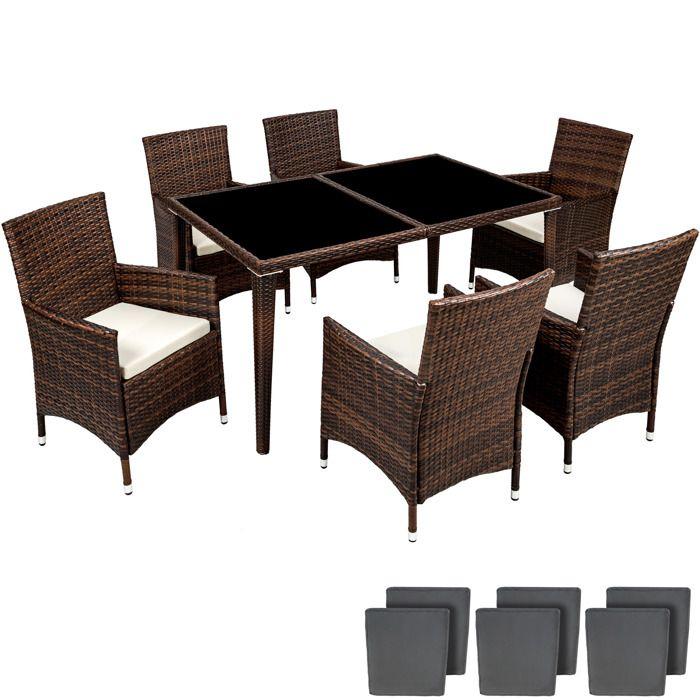 Salon de jardin - 6 Chaises, 1 Table en Résine Tressée structure ...