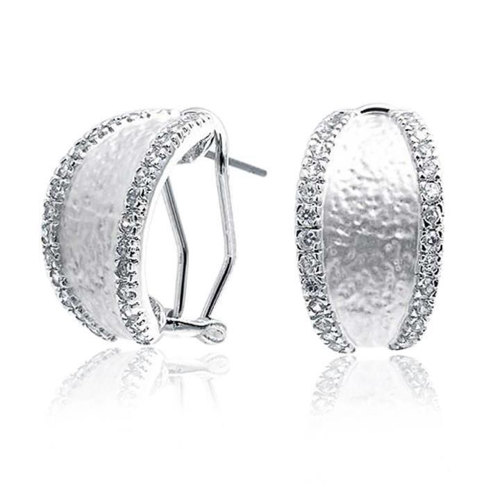 Bling Jewelry CZ Mat Boucles douvrir la moitié en plaqué rhodium