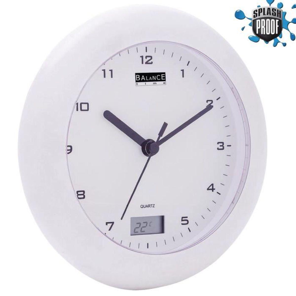 Horloge Thermomètre pour Salle de bains 17 cm Analogiques Blanc ...