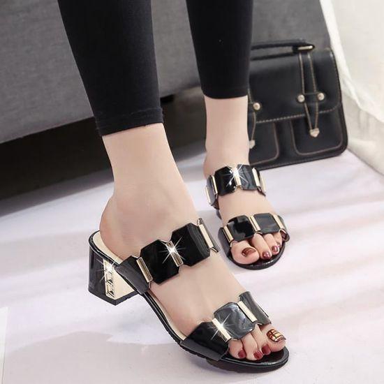 Femmes Fish Mouth Slipper Escarpin Sandales Antiskid Toes Party Chaussures Tongs  Noir Noir Noir - Achat / Vente escarpin