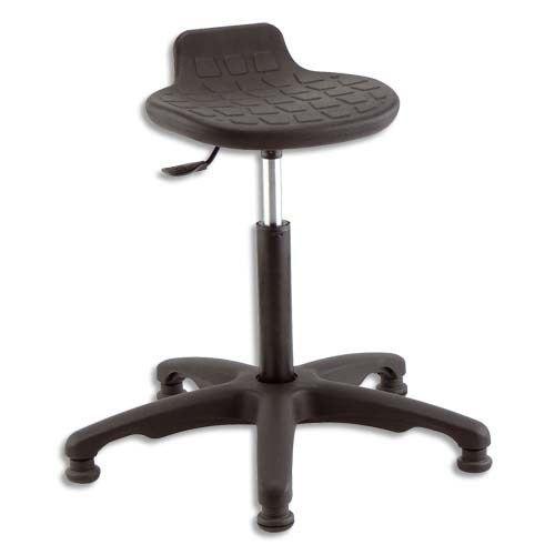 Siège assis débout en polyuréthane (sans CFC) Assise pivotante et inclinable Lift gaz Piètement nylon 5 branches sur patins (jeu de 5 roulettes en optFAUTEUIL
