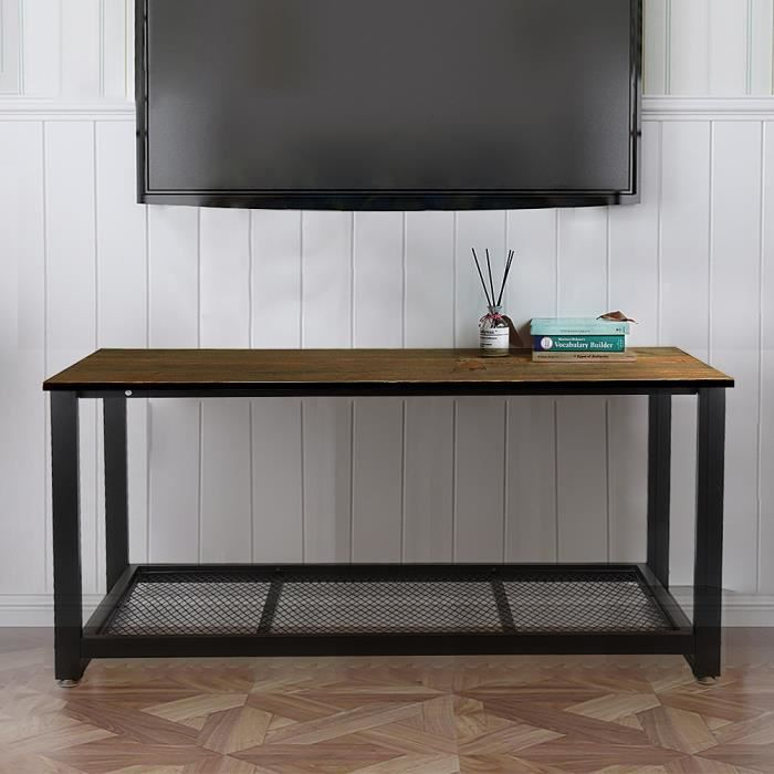 Meuble TV,Table basse de salon Surface imperméable Style rétro industriel  Avec étagère de rangement