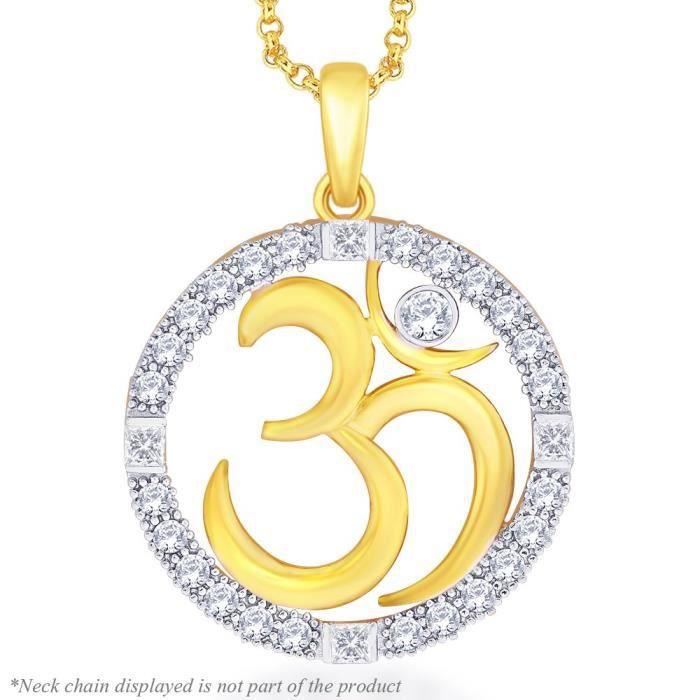 Cadeaux Diwali femmes plaqué or Om Pendentif Avec Halo CPM6E