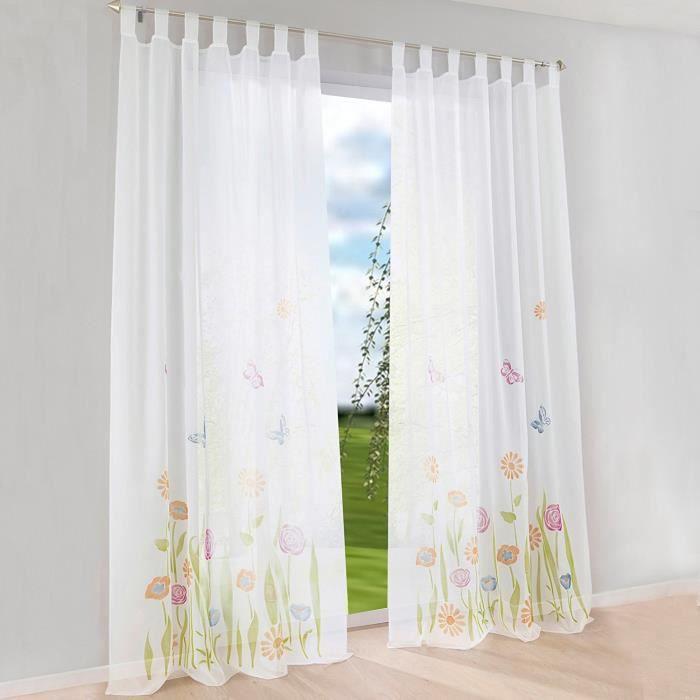 1Pc Rideau Voilage à Pattes LxH-150x260CM Vert Impression Fleurs et  Papillons Décoration de Fenêtre Chambre-Salon-Balcon e59fc715ceb7