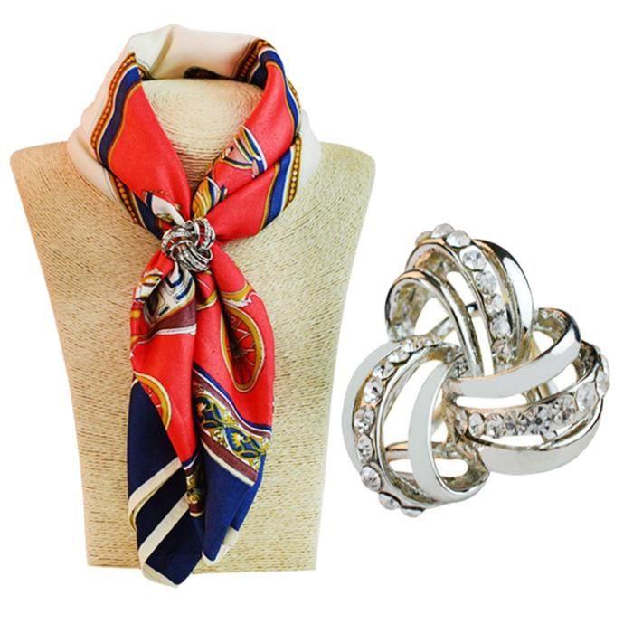Bc4 Trois anneaux diamante d écharpes en soie métallique clip en mousseline  de soie argent ee0b110e2a2