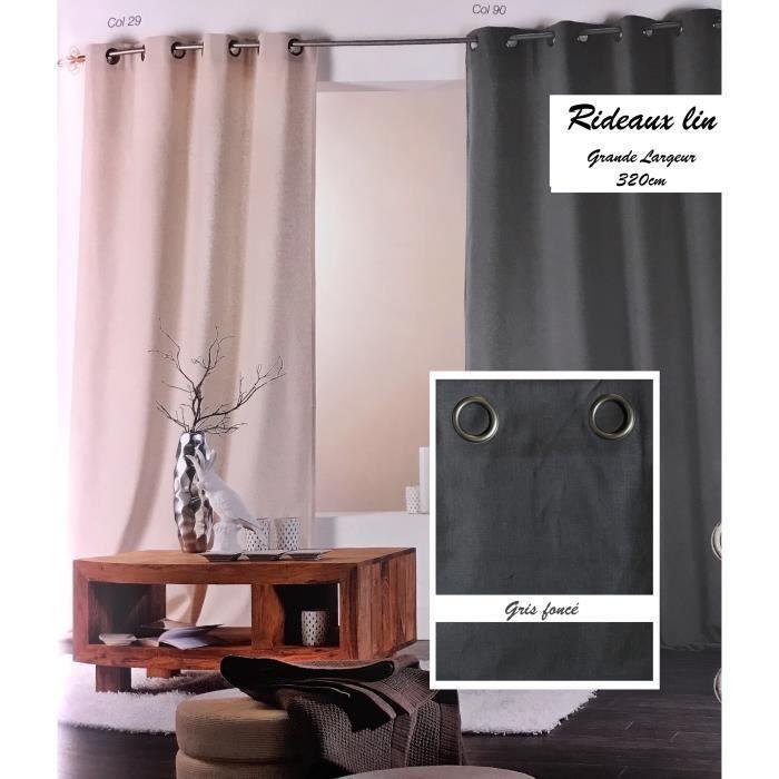 double rideaux lin gris achat vente double rideaux lin gris pas cher cdiscount. Black Bedroom Furniture Sets. Home Design Ideas