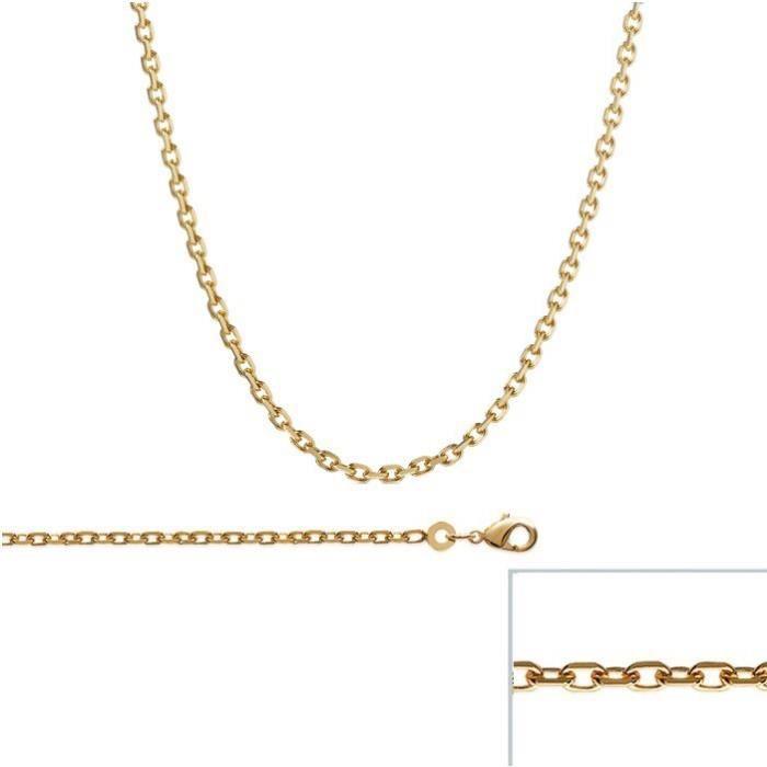 Chaine Plaqué Or maille Forcat largeur 2,4mm (45 cm)
