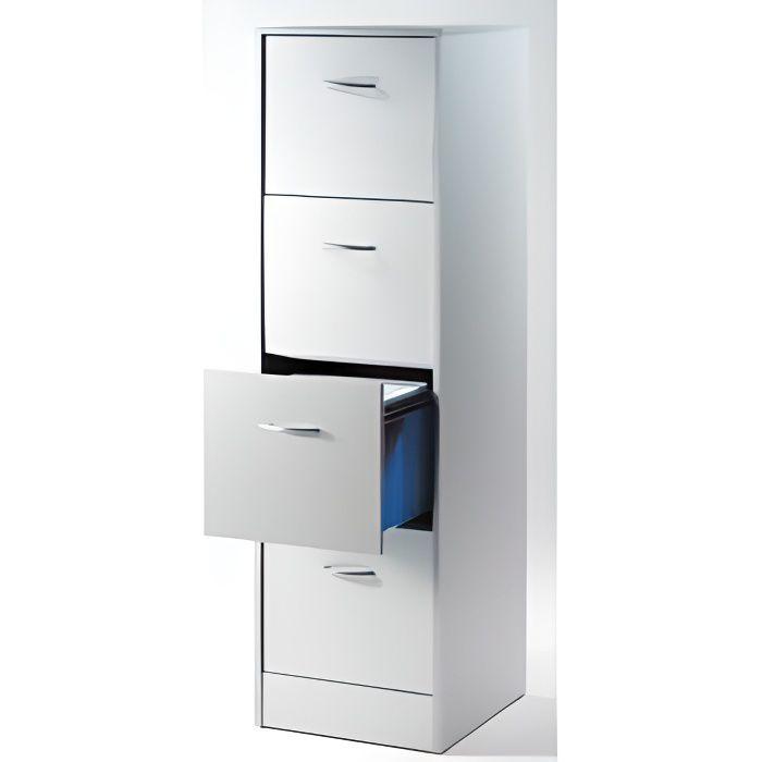 Classeur 4 tiroirs pour dossiers suspendus 41 4 cm blanc for Meuble classement tiroir