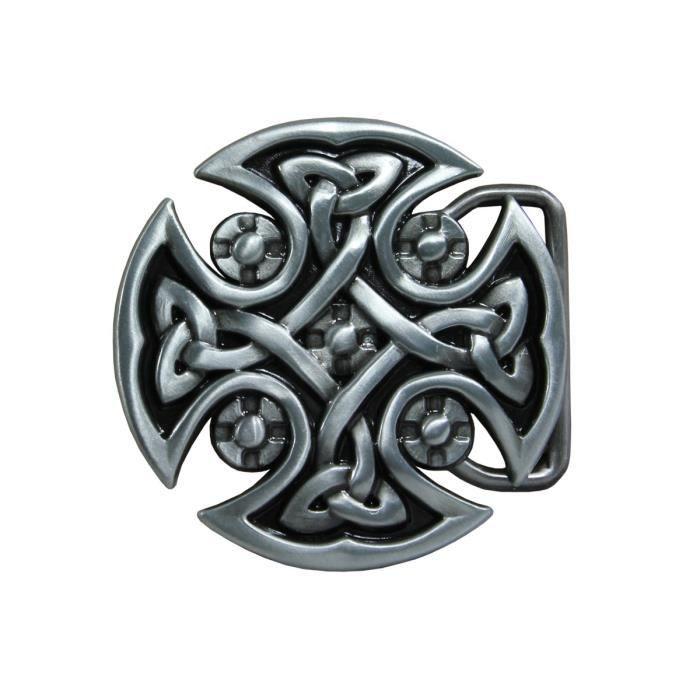 Retracez vos origines celtiques avec cette magnifique boucle pour ceinture  argentée en forme de croix. 02869707383