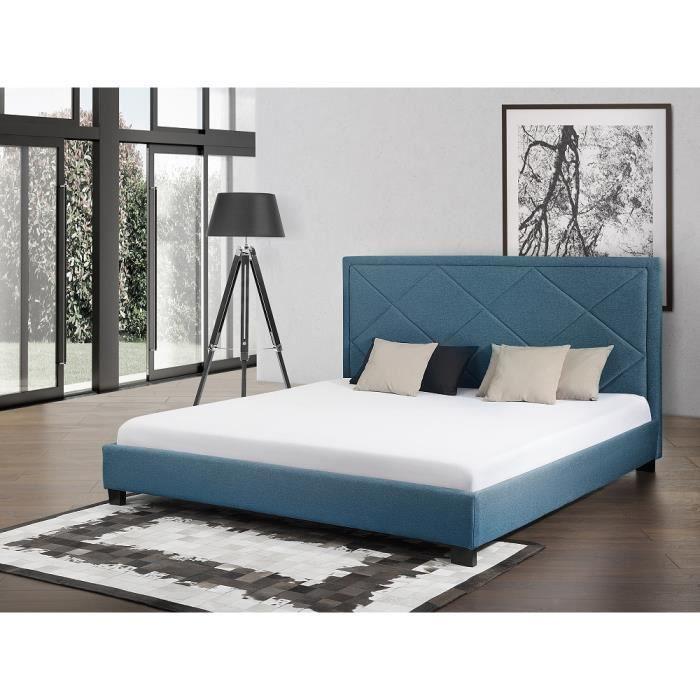 lit en tissu lit double 180x200 cm sommier inclus marseille bleu fonc - Lit Double