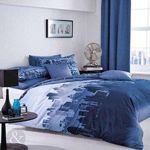 Linge de lit parure de drap bleu marine parure de achat for Housse couette bleu marine