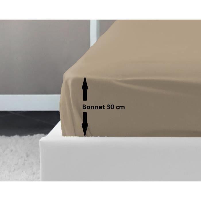 LOVELY HOME Drap Housse 100% coton 140x190x30 cm beige   Achat