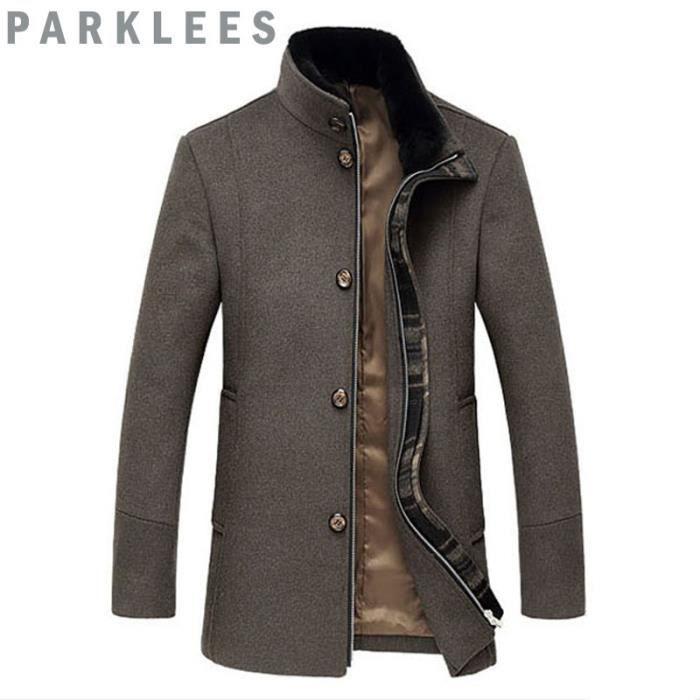 manteau de laine homme avec col en fourrure pais mode. Black Bedroom Furniture Sets. Home Design Ideas