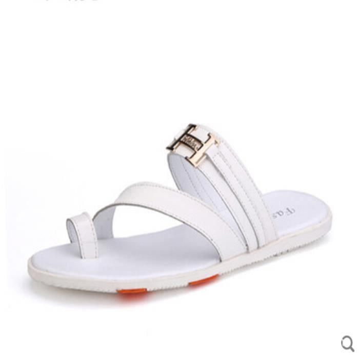 Hommes sandales pantoufles en cuir véritable pe... ByEmBqCdmk