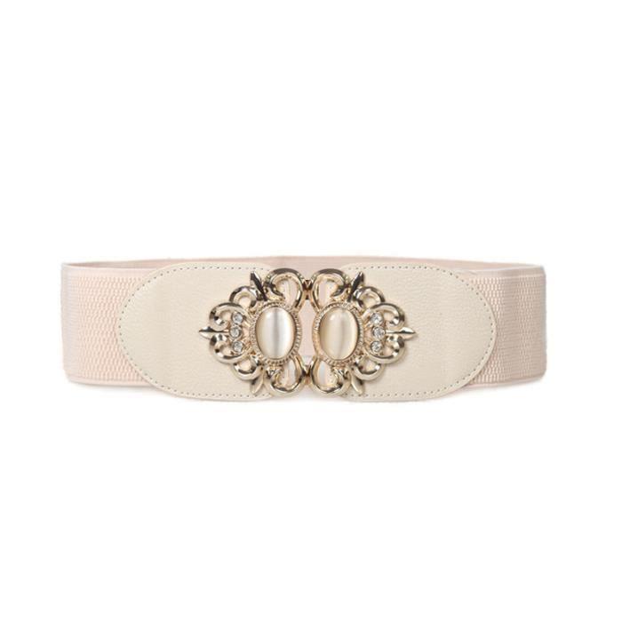 Fashion Vintage Femmes Large ceinture élastique... Beige - Achat ... 9868d0725bd