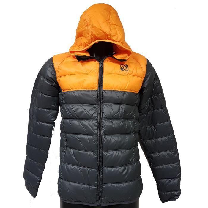 7c7967567d6cd Doudoune Freegun homme avec capuche Gris orange Gris Gris - Achat ...