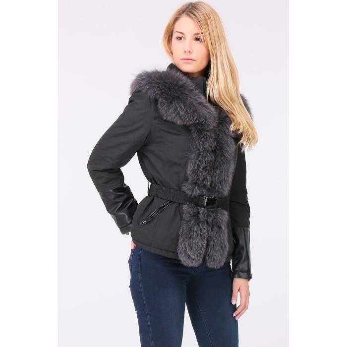 Manteau vrai fourrure femme noir