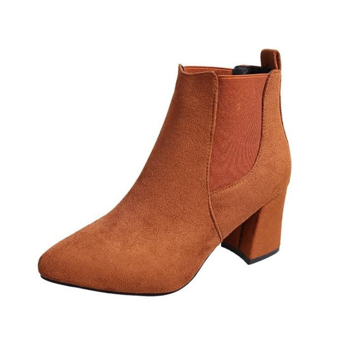 2017 automne et bottes court cylindre hiver avec des talons hauts bottes chaussures bottes Martin femmes bottines avec gommage
