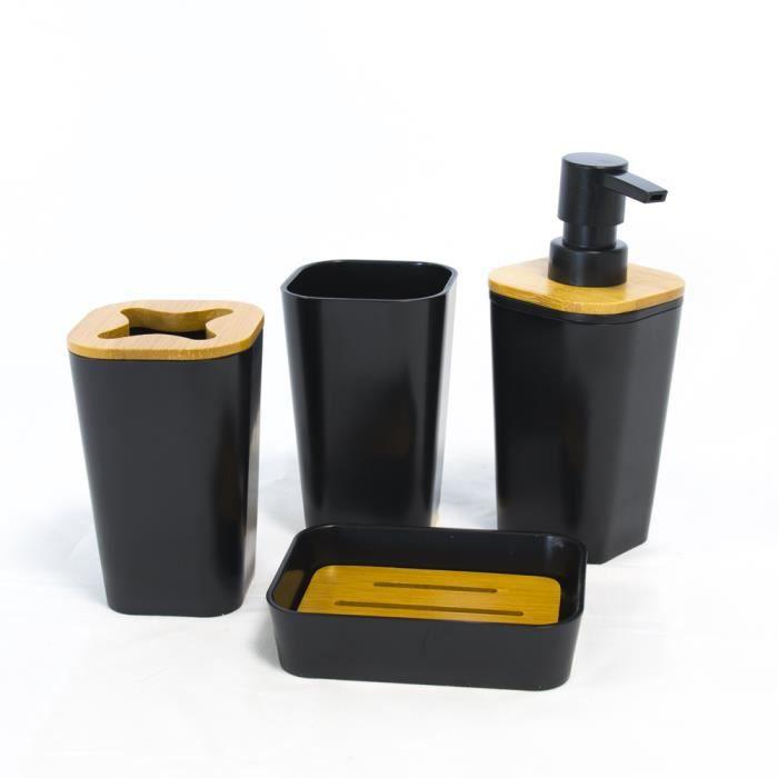 Set Accessoires Pour Salle De Bain En Bambou Noir Achat Vente