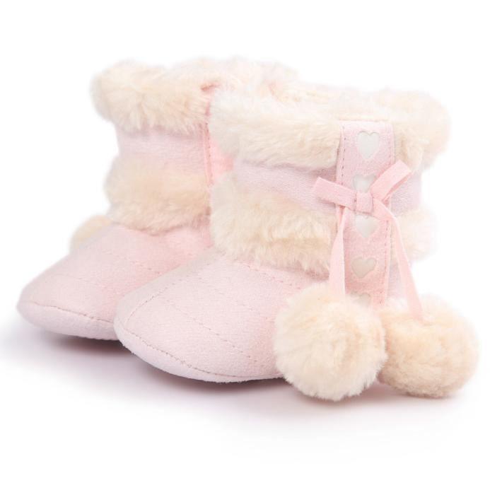Bottes de neige molles pour bébés semelles molles bottes tout-petits rose