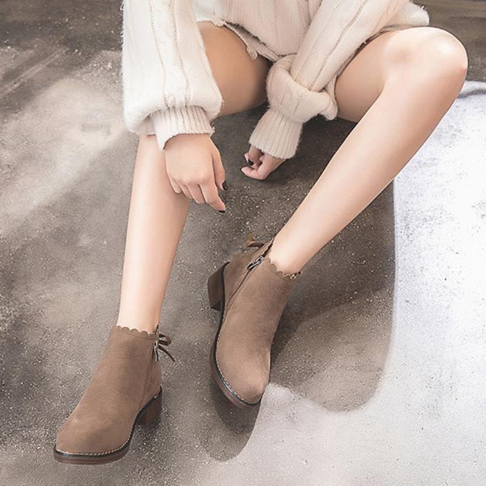 Plat Ljd80905897kh35 Kaki Pilerty®femmes Toe Chaussures Bottes Suede Zipper De Couleur Bottillons Rondes Martin Shoes Unie fftqO