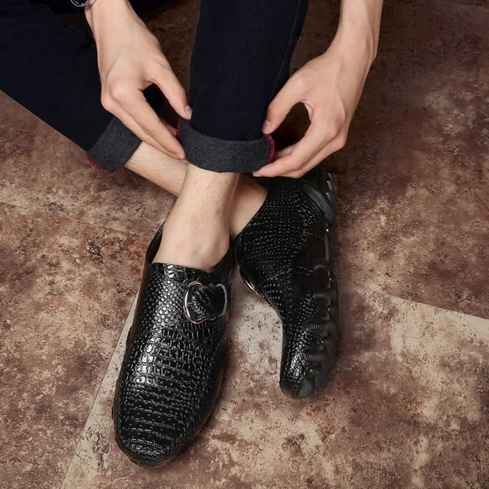 Doux hommes en cuir Slip-on Chaussures Mode Chaussures de conduite homme (noir, brun)