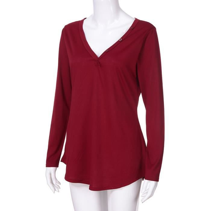 Chemisier En Mesdames Femmes Rouge Casual Tops Bouton Tunique T V Col shirt Manches Longues AY4HRqY