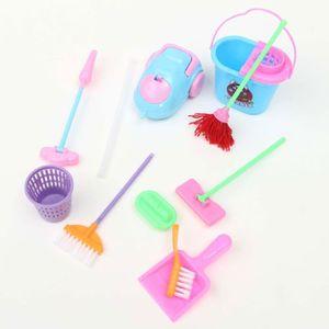 POUPÉE 9PCS Barbie Nettoyage Kit Maison Mobilier Meubles