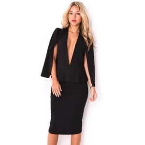 07e59eeff1e1a Robe mi-longue à cape Noir Noir - Achat   Vente robe - Soldes  dès ...