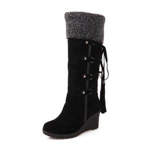 Femmes Bottes de neige Garder au chaud Antidérapant Botte Chaussures fourrées Femme Automne et hiver Chaussure dss059gris36 rorOL