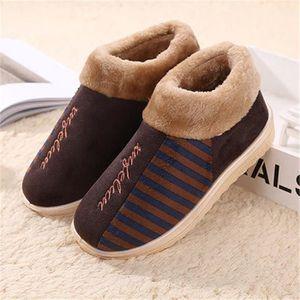 Lapin chausson Mignonne hiver homme Confortable chaussons hommes chaud maison pantoufles peluche léger version Plus Taille 42-45 P9ceGa1B