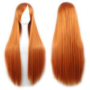 Perruque raide long cheveux 80cm couleur