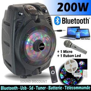 PACK SONO ENCEINTE PORTABLE 200W USB, BLUETOOTH FM + 1 RUBAN