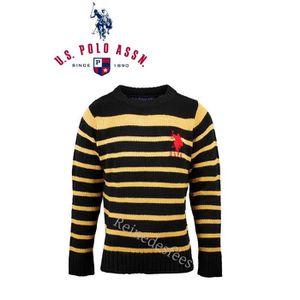 405f79c757c Joli Pull enfant de marque US POLO ASSN sweat en maille tricot marin col  rond noir à rayures moutarde garçons 10 ans