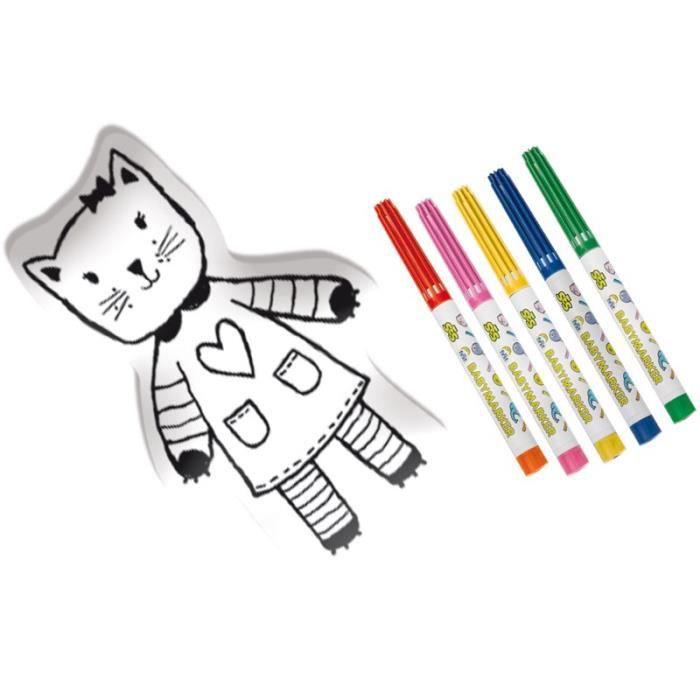 SES CREATIVE MY FIRST Chat en tissu à colorier
