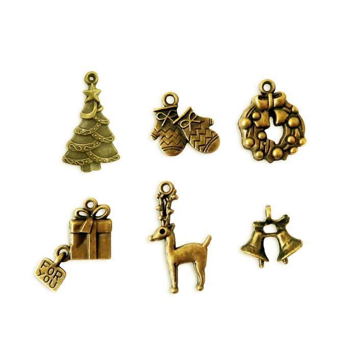 TOGA Lot de 6 Breloques - Thème NŒl - Metal doré