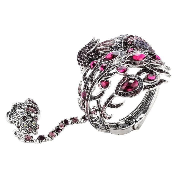Bracelet en cristal Grand paon de la femme esclave extensible Bague MGEC1