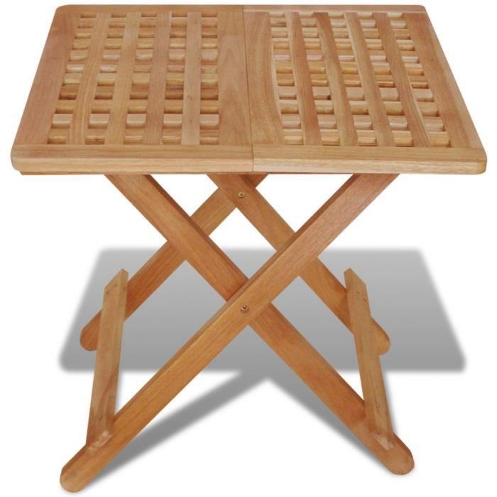 Magnifique Table Auxiliaire Pliante 50x50x49 Cm Bois De Noyer Massif