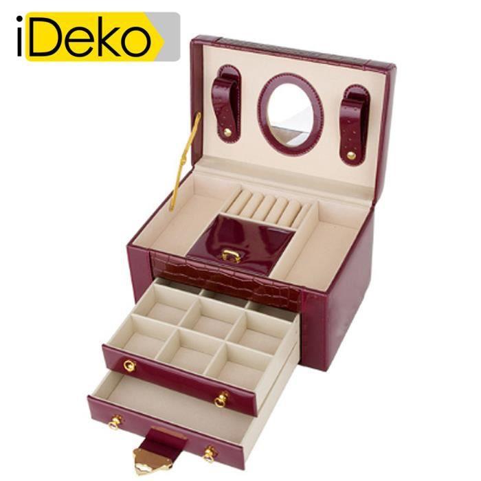 IDEKO®Coffret à Bijoux PU Cuir 3 étages Carmin Jolie Boîte à bijoux