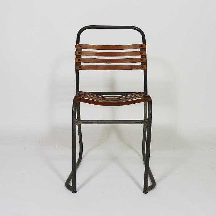 CHAISE Chaise Industrielle Cuir Et Metal Detroit