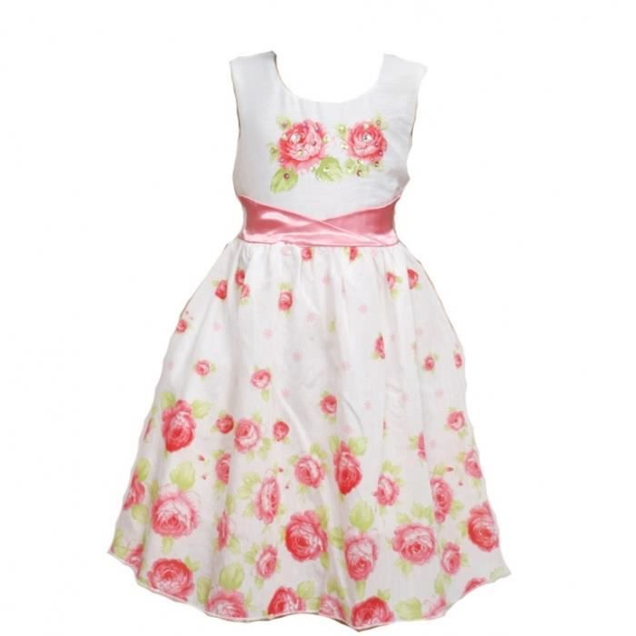 Coton robe florale Blanc et pamplemousse